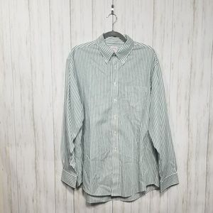 Brooks Brothers green & white striped dress shirt